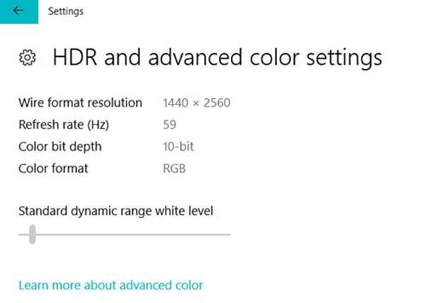 "Windows now lets you adjust how bright SDR content appears when running in HDR mode on the desktop. On an HDR capable system, you will see a slider in the ""HDR and advanced color settings"" page under Settings > System > Display."